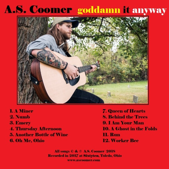 A.S. Coomer, goddamn it anyway, back cover
