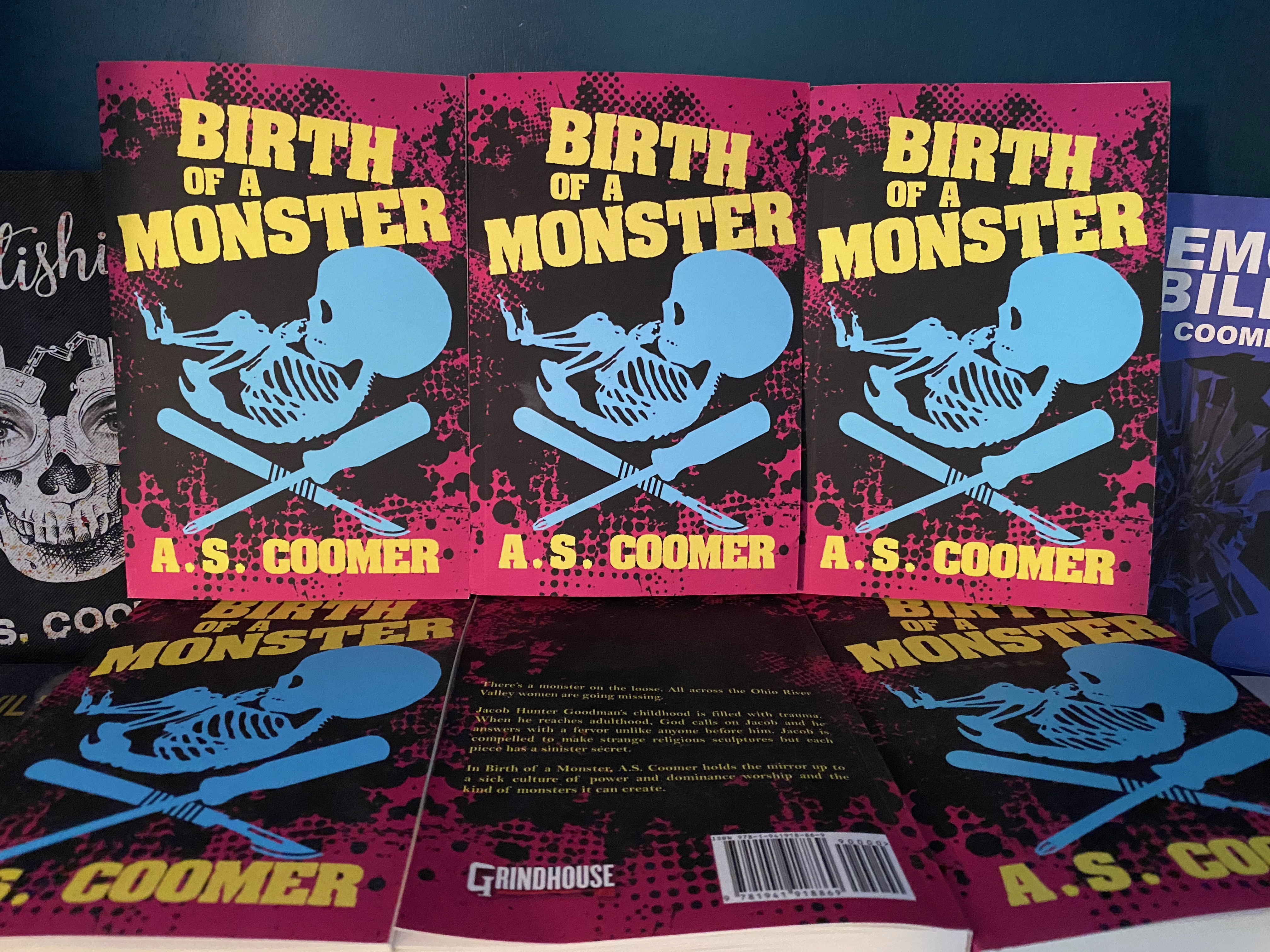 birth-of-a-monster-books-on-shelf